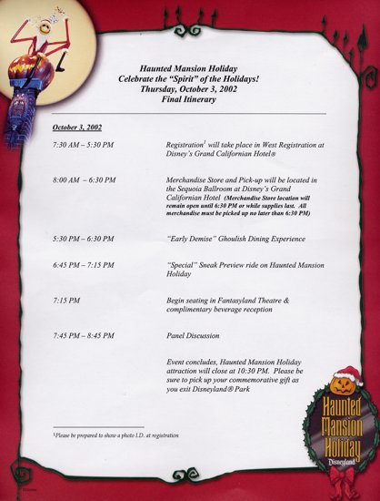 event itinerary
